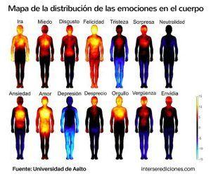 Mapa de la distrubucción de las emociones en el cuerpo