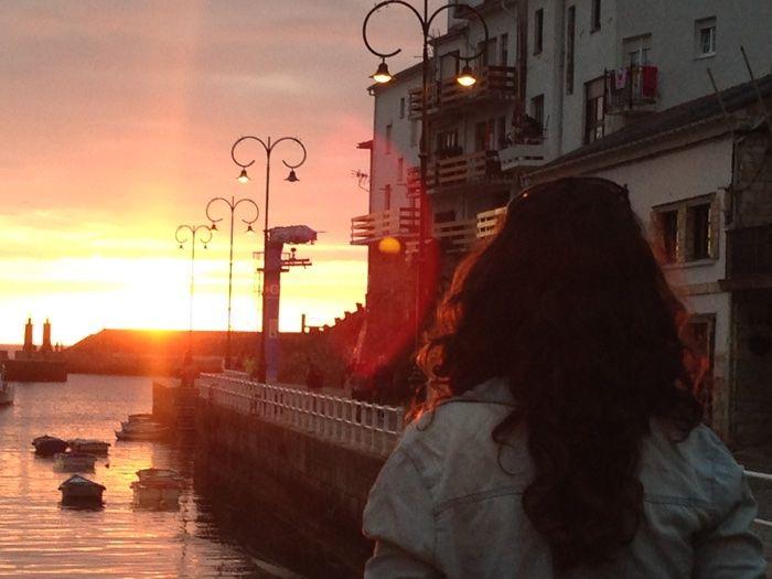 Foco de atención en la puesta de sol